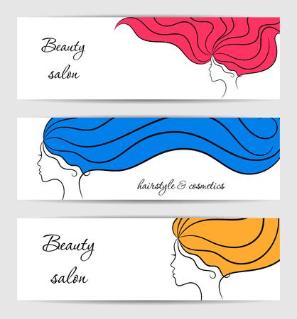 Horizontale witte banners voor schoonheid en cosmetica salon met contour meisje profielen.
