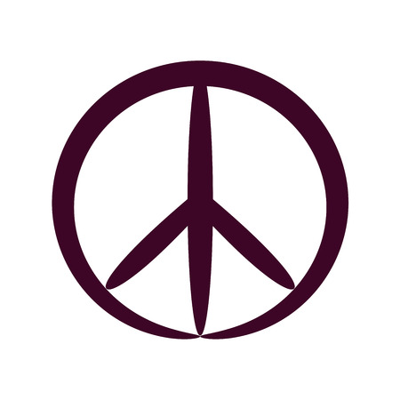 Contour peace symbol, isolated vector Illustration