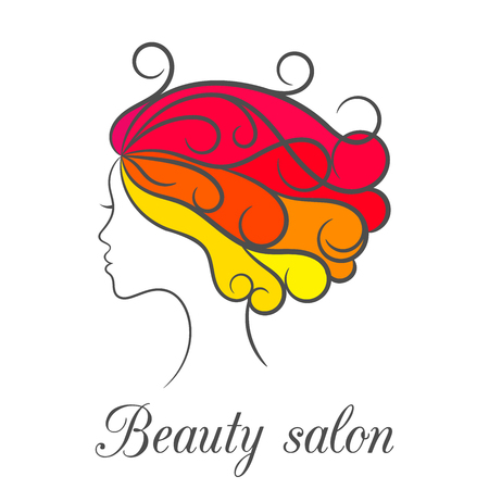 the appearance: Contour bright colourful logo for beauty salon with female profile.