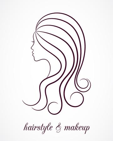 Female contour profile for beauty salon logo Illustration