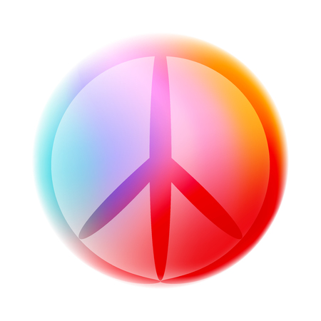 Contour colorful peace sign, isolated vector