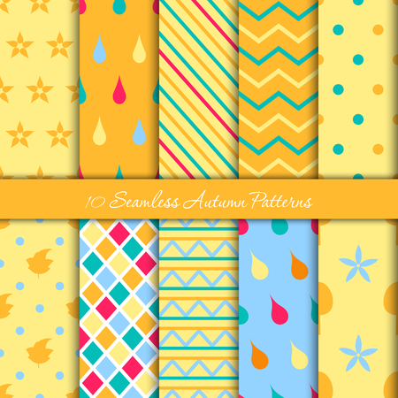 Ten autumn different seamless patterns. Endless texture for wallpaper, web page background, wrapping paper and etc. Retro style. Ilustrace