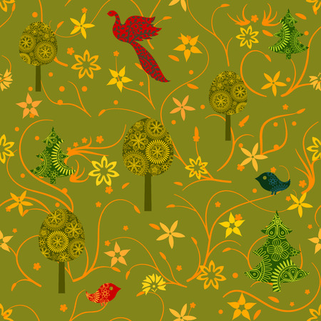 Seamless autumn pattern with fairy trees and birds. Endless texture for wallpaper, web page background, wrapping paper and etc.