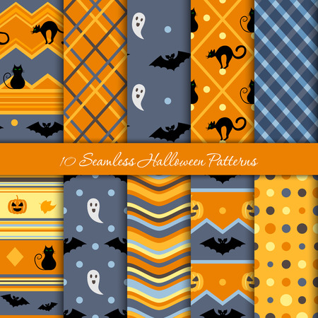 Ten Halloween different seamless patterns. Endless texture for wallpaper, web page background, wrapping paper and etc.