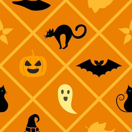 Seamless warm geometric pattern with Halloween symbols: cat, hat, bat, ghost, leaves, pumpkin. Endless texture for wallpaper, web page background, wrapping paper and etc.