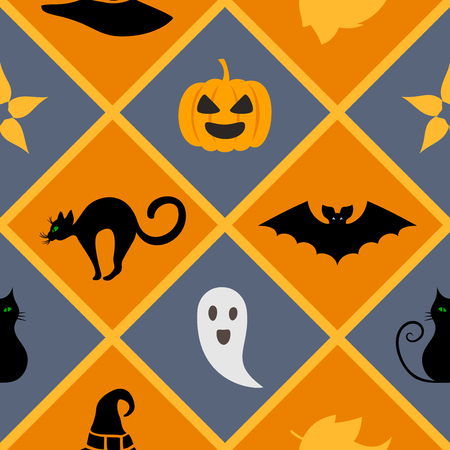 Seamless geometric pattern with Halloween symbols: cat, hat, bat, ghost, leaves, pumpkin. Endless texture for wallpaper, web page background, wrapping paper and etc. Ilustrace