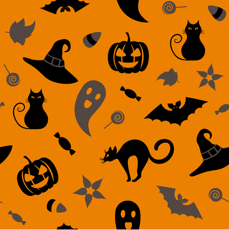 Seamless Halloween pattern with traditional symbols: cat, hat, bat, ghost, leaves, pumpkin, sweets. Endless texture for wallpaper, web page background, wrapping paper and etc. Retro style.