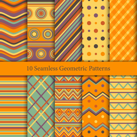 Ten geometric patterns in warm hues. Endless texture for wallpaper, web page background, wrapping paper and etc.