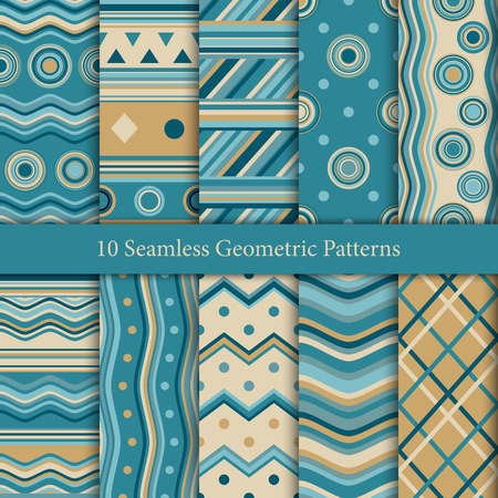 Ten seamless geometric patterns in blue colors. Endless texture for wallpaper, web page background, wrapping paper and etc. Ilustrace