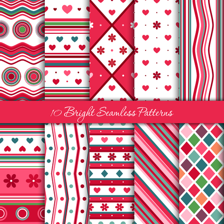 Ten seamless geometric patterns in different colors. Ilustrace
