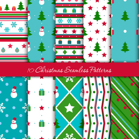 ten christmas geometrical seamless patterns in blue red green colors with snowmen snow - Why Are Red And Green Christmas Colors