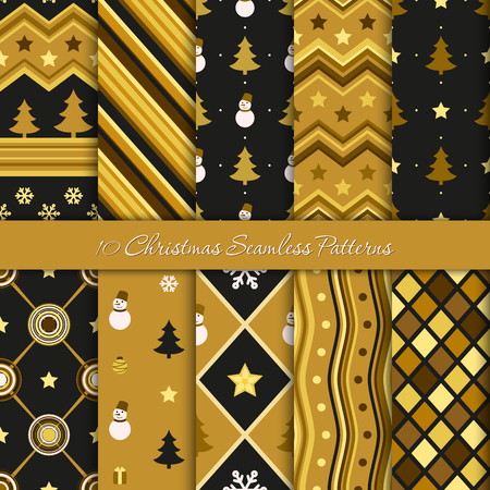 Ten Christmas geometric patterns in black and golden colors. Endless texture for wallpaper, web page background, wrapping paper and etc.