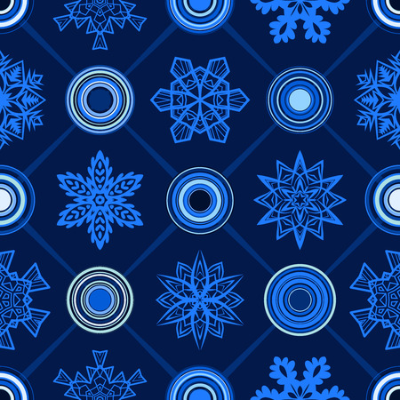 Blue Christmas seamless geometric pattern with snowflakes and circles