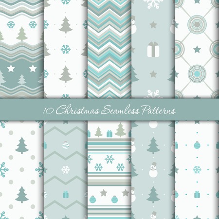 Ten Christmas geometrical seamless patterns in white, blue and gray colors