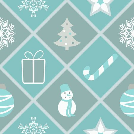 Seamless geometric pattern with Christmas symbols in gray, blue and white colors