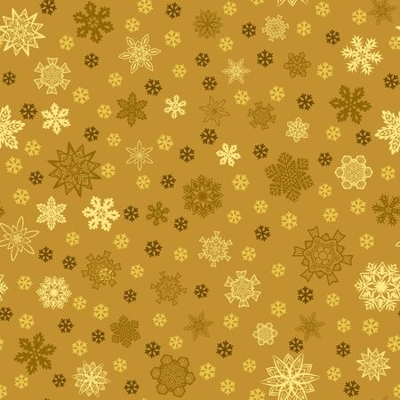 Seamless golden background with snowflakes Ilustrace