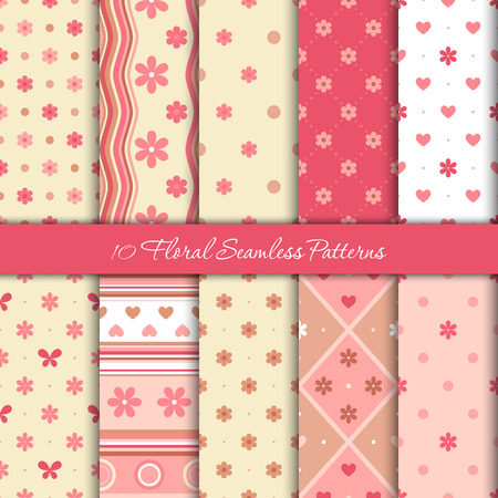 Ten spring seamless patterns with flowers, hearts and circles in gentle pink colors Ilustrace