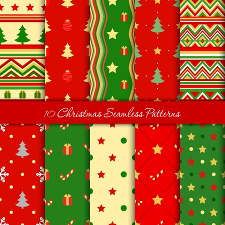 Ten Christmas seamless patterns in red and green colors