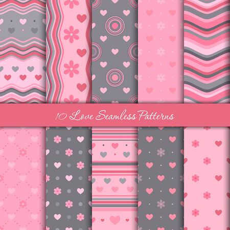 Ten love seamless patterns for Valentine's Day in pink and gray colors