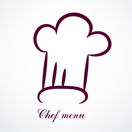 Contour chef hat. Vector design for any decoration. Creative concept. Ilustrace