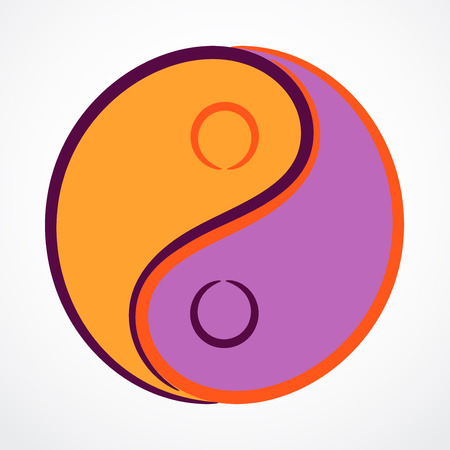 Contour yin yang symbol with filling, vector illustration.