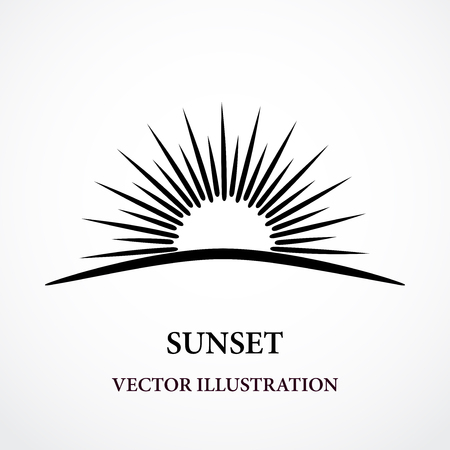 Contour stylized sunset black Vector illustration. Ilustrace