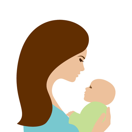Mother holding newborn baby, isolated Ilustrace