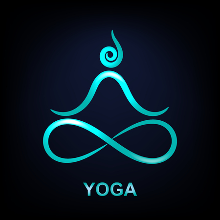 Glowing lotus yoga symbol on dark blue background