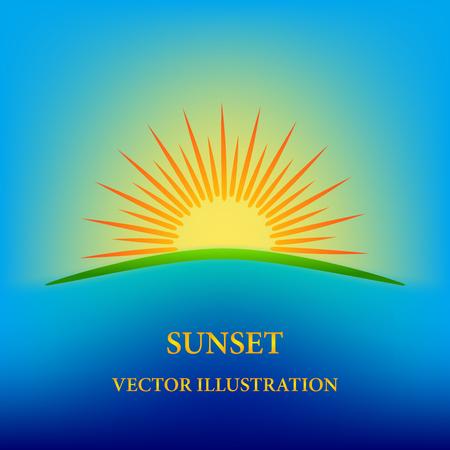 Contour stylized sunset illustration Ilustrace
