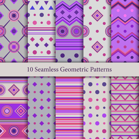 Ten seamless geometric patterns in violet and gray hues Ilustrace