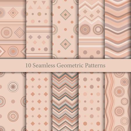 Ten seamless geometric patterns in beige hues illustration.
