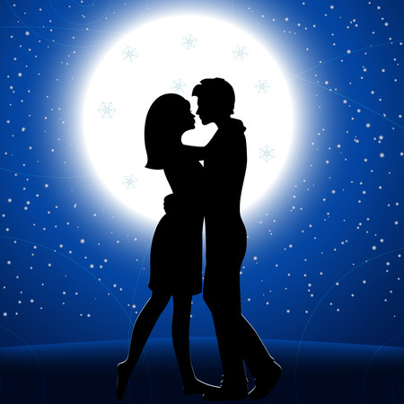 Man and woman embracing in the moon