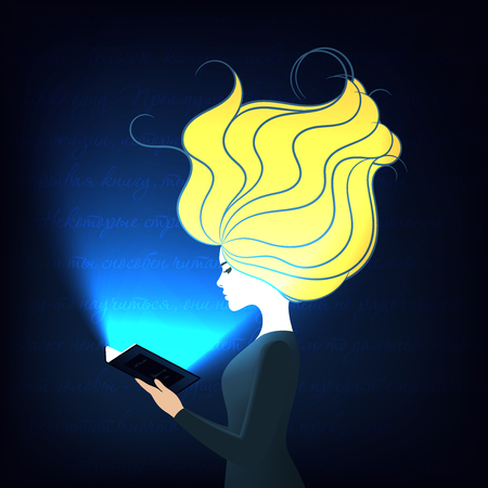 Illustration of a girl reading the book