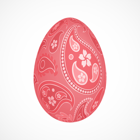 Abstract 3d egg with pink cucumbers ornament, isolated vector