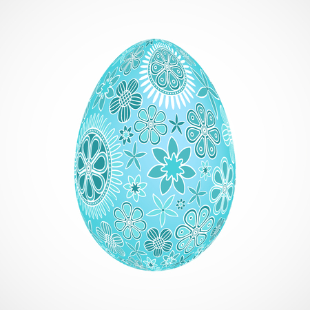 Abstract 3d egg with blue floral ornament, isolated vector