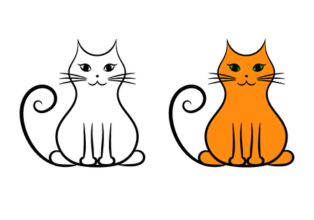 Contour cat and painted cat, isolated vector illustration. Ilustrace