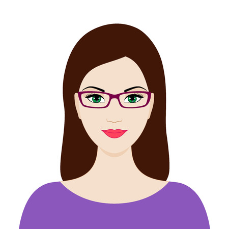 Beautiful woman with glasses, isolated vector