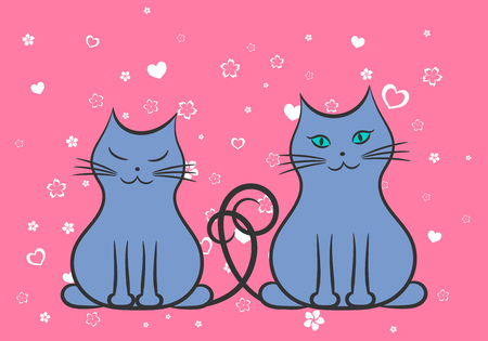 Two cats in love on pink background Ilustrace