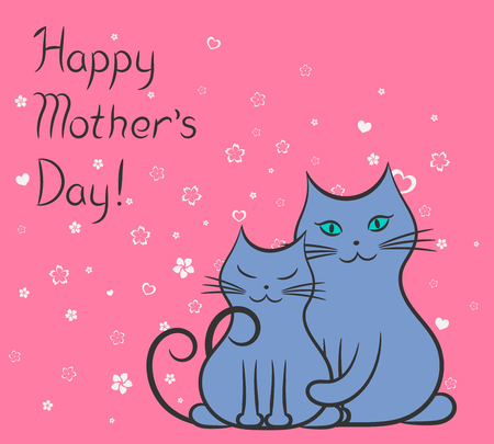 Mother cat and kitty contour drawing. Happy mother's day card vector Ilustrace