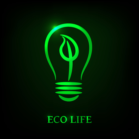 Contour eco electric light bulb with green leaf on black background