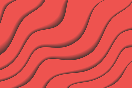 Material design background with red diagonal waves, vector