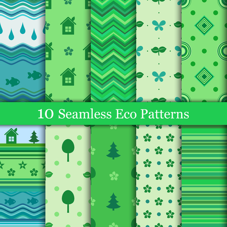 Ten eco-friendly patterns in green colors Ilustrace