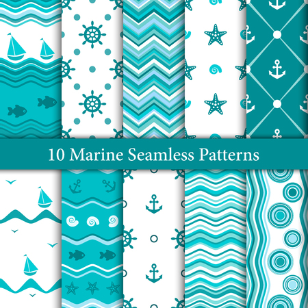 Ten marine seamless patterns in white and blue colors