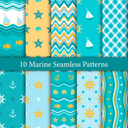 Ten marine seamless patterns in orange and blue colors Ilustrace