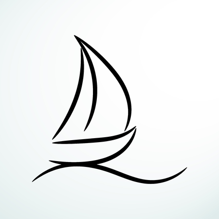 Contour sailing symbol, isolated vector