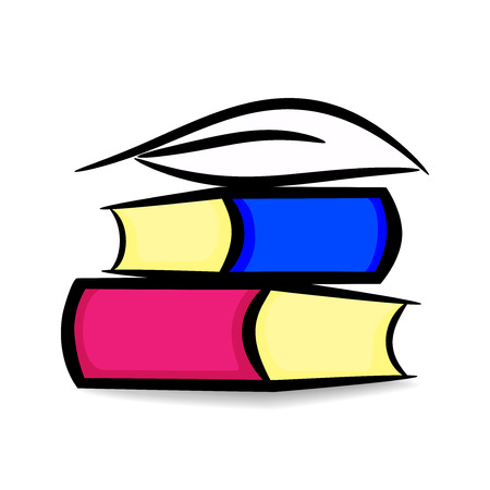 Contour illustration of books and pen. Vector design for writers, readers, etc. Ilustrace