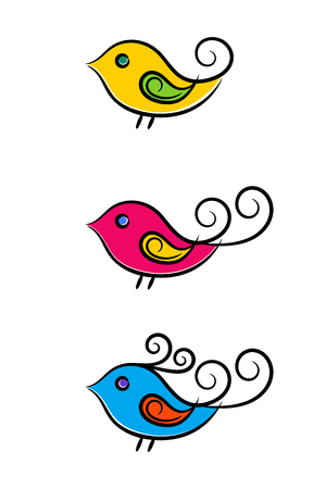 Contour colorful birds set, isolated vector