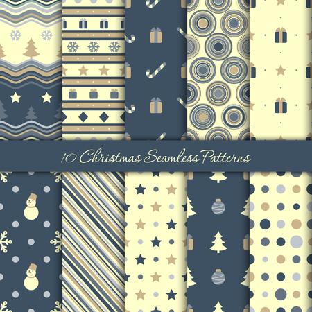 Ten Christmas seamless patterns