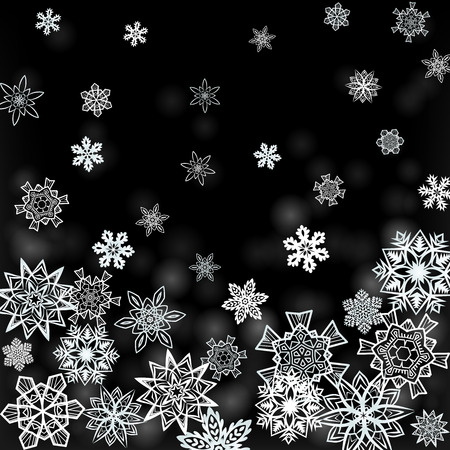 Christmas black square background with white falling snowflakes