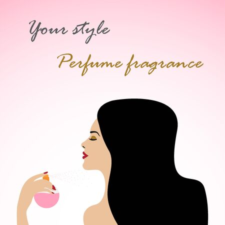 Woman applying perfume, flat art. Vector. Çizim